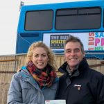 5500 Random Acts Of Kindness - Emily from The Bus Shelter Dorset receiving a cheque from Paul Hay from Fish 'n' Fritz