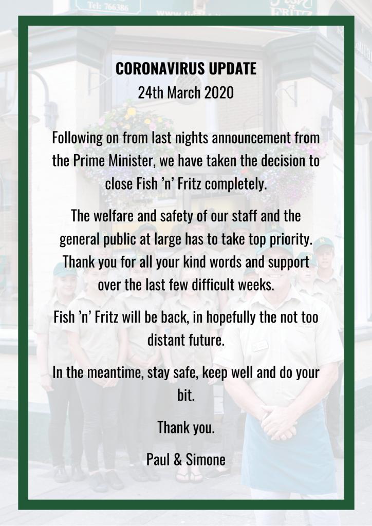 Fish 'n' Fritz - CORONAVIRUS - Closure Notice